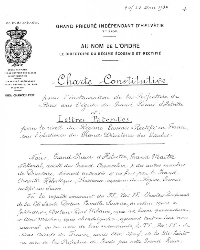 Charte-Patente - GDDG - 1935 - 1